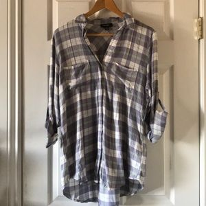 NWT Lord and Taylor plaid top soft purple blue